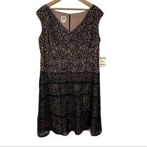 ANNE KLEIN Black Lace Over Nude Sheath Dress